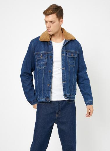 Koton Yakası Suni Kürk Detaylı Jean Jacket Mavi